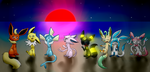 .:Eevees:. by LunaticDemonLuny