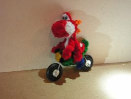 Red Yoshi on a  motorcycle by fuzzyfigureguy