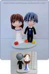 Clannad - Nagisa and Tomoya wedding cake topper by Nko-ennekappao