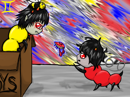 sollux and karkat grubs by MarlieNicole