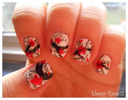 Paper Flower Nails by Ebony-Rose13