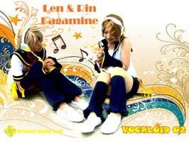 Rin Len playing with Cat by dekcik