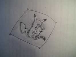 Sleeping Pikachu and Dedenne by ThunderElectron
