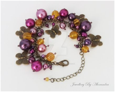 Cluster Bracelet-Purple and Yellow with Butterfly  by WhiteMagicPriestess