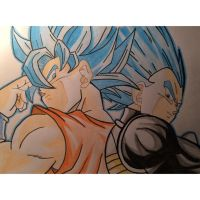 Goku and Vegeta Blue Super Saiyan by Tinizel