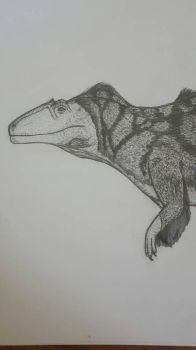 Acrocanthosaurus pencil W.I.P 2 by Dinoal188