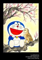 Doraemon and Little Owl by dna138