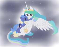 Princess Celestia with young Luna by Dovashy