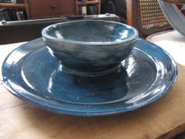 Nairobi Blue Bowl and Plate Set by dreamylittlethings