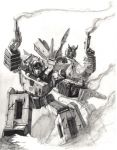 Sunstreaker and Prowl by LivioRamondelli