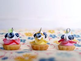 Tall fruit cream tarts by ochamelon