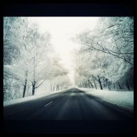 Snowy road by Gustavs