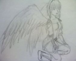 Winged warrior anime by bloominglove