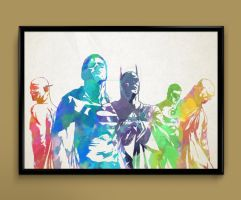 Justice league watercolor print by ColourInk