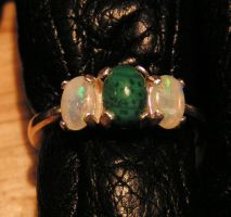 Speak To Me - Opal and Malachite Silver Ring by Izile
