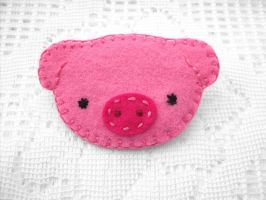 Cute pink felt piggy by PeachPodHandmade
