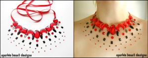 Red and Black Illusion Necklace by Natalie526