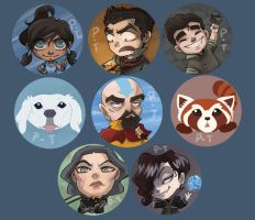 Legend of Korra buttons by perishing-twinkie