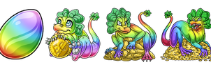 EggCave Adoptable: St. Patricks Dragold by Alkaline00