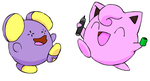 Whismur and Jigglypuff by beebarb