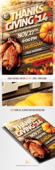 Thanks Giving Party Invitation Flyer by saltshaker911