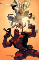 Deadpool V. Shatterstar::Color by KharyRandolph