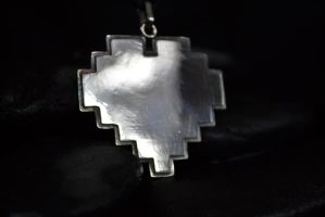Pixelated Heart Pendant by Silverthink