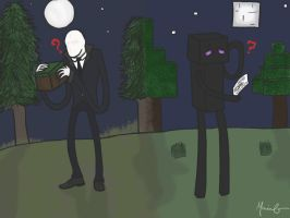 Slenderman and Enderman by JellyBean1050