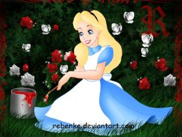 Alice and the red roses by rebenke