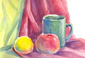 Cup, apple and lemon fragment by jkBunny