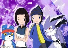Reira, Kouji with Gaomon and Strabimon by FairyAurora