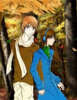 Bella and Edward in Fall by Aleatoire09