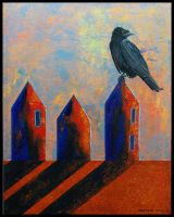 Crow and Houses by BGDodson