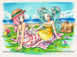 Copic Marker Picnic - Maya and Wynn by LemiaCrescent