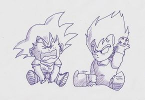 Baby Goku and Vegeta - Ink by Lazaer