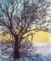 Watercolour and Byro Winter Tree Silhouette by Changingtherain