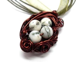 Nest Adorned Necklace in Brown by sojourncuriosities