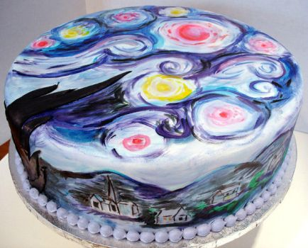 Van Gogh Cake by pinkcakebox