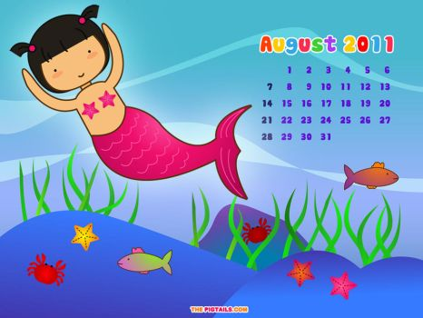 Pigtails Calendar August 2011 by jazgirl