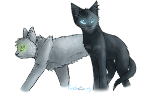 x-Nightghost and Pebblefur-x by Finchwing