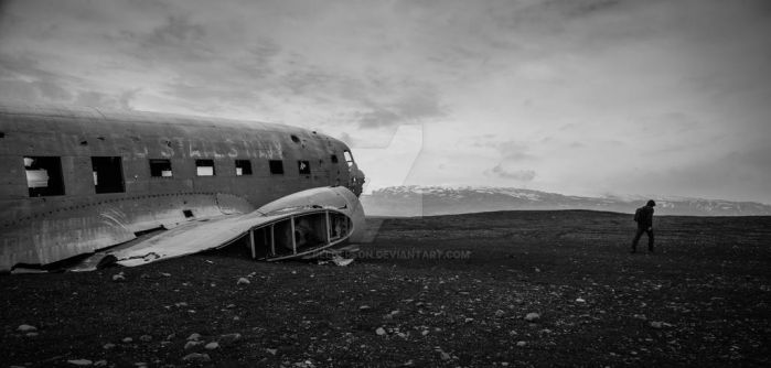 crashed airplane by Relderson