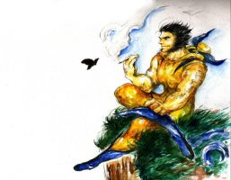 Wolverine and a butterfly by getsuyoh