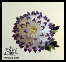 White and Purple Kiku Kanzashi by Kanzashi-Hime