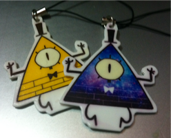 bill cipher necklace and keychain by zamii070