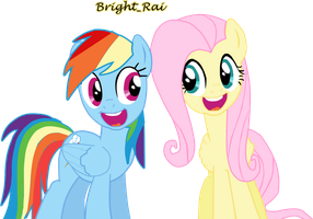 Rainbow Dash and Fluttershy by brightrai