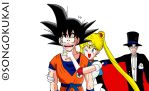Usagi Tsukino and Son Goku D.A by Krizeii