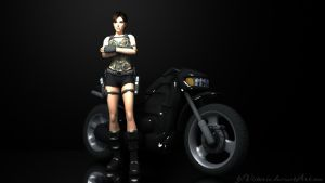 Lara and Motorcycle by LPVictoria
