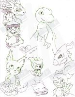 Digimon Doodles by NinjaHaku21