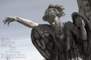 Dr Who Paintopia Weeping Angel bodypaint by Bodypaintingbycatdot