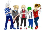 [Vocaloid x 1D] Piko Len Chaz Oliver Ryuuto by ChazyChazle